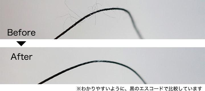 レザークラフト、糸の蝋引き前後の比較